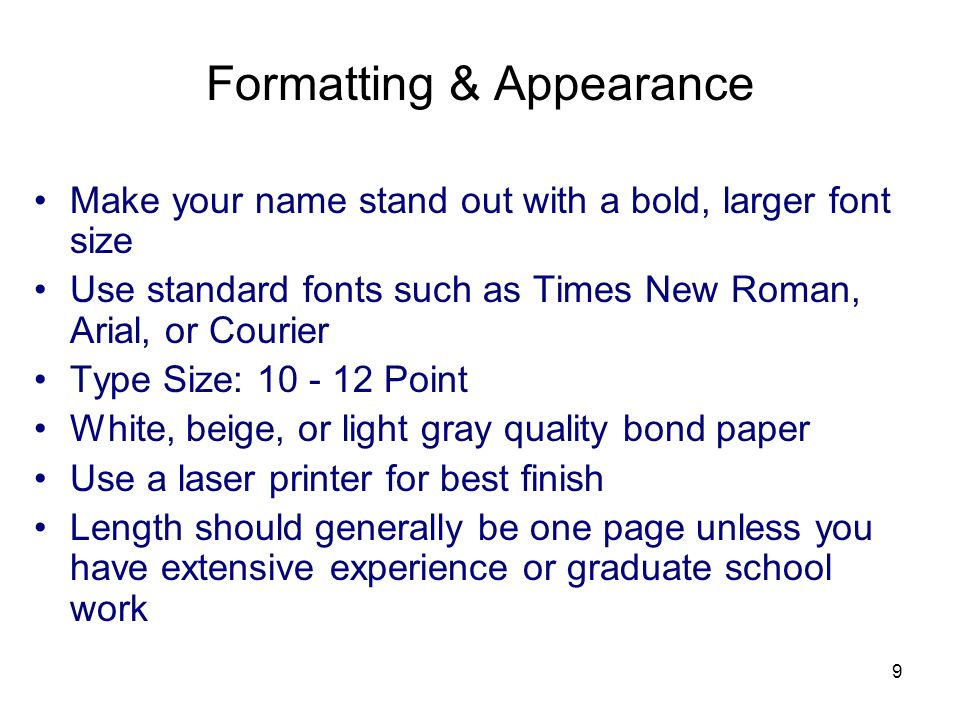 Formatting & Appearance
