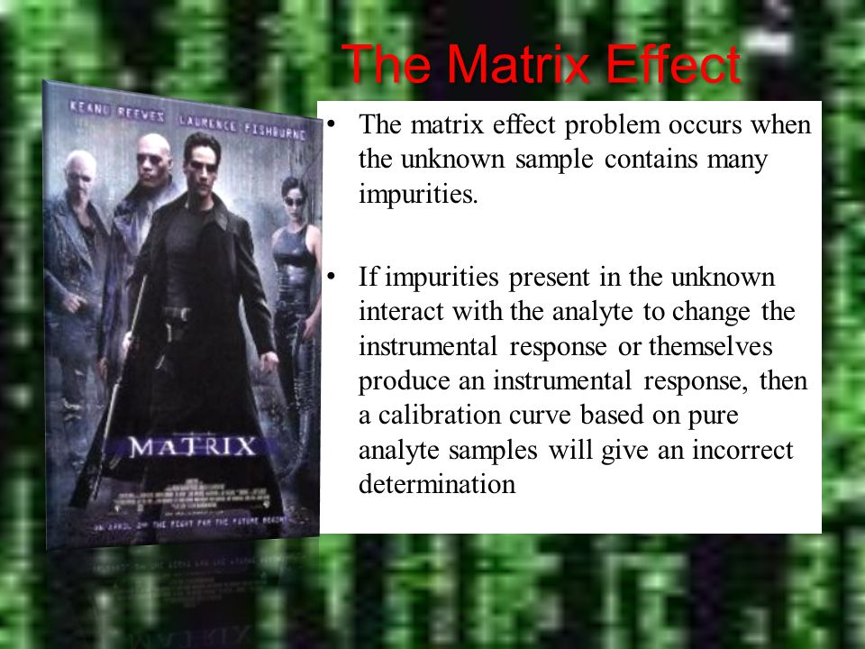 The Matrix Effect The matrix effect problem occurs when the unknown sample contains many impurities.