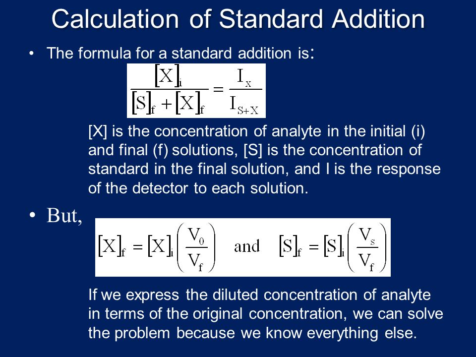 Calculation of Standard Addition
