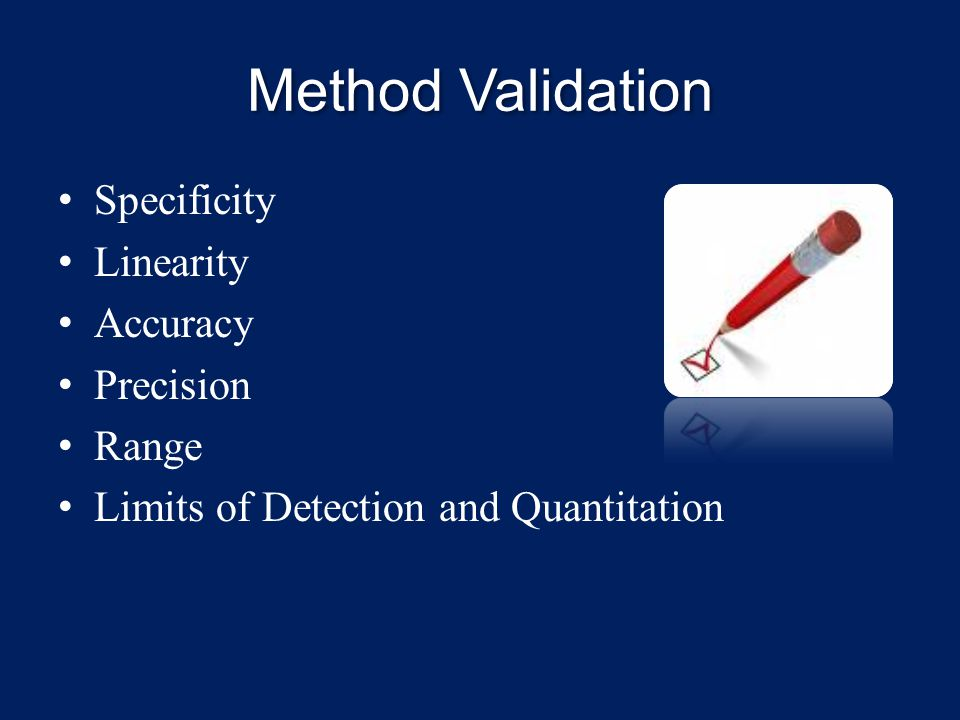 Method Validation Specificity Linearity Accuracy Precision Range