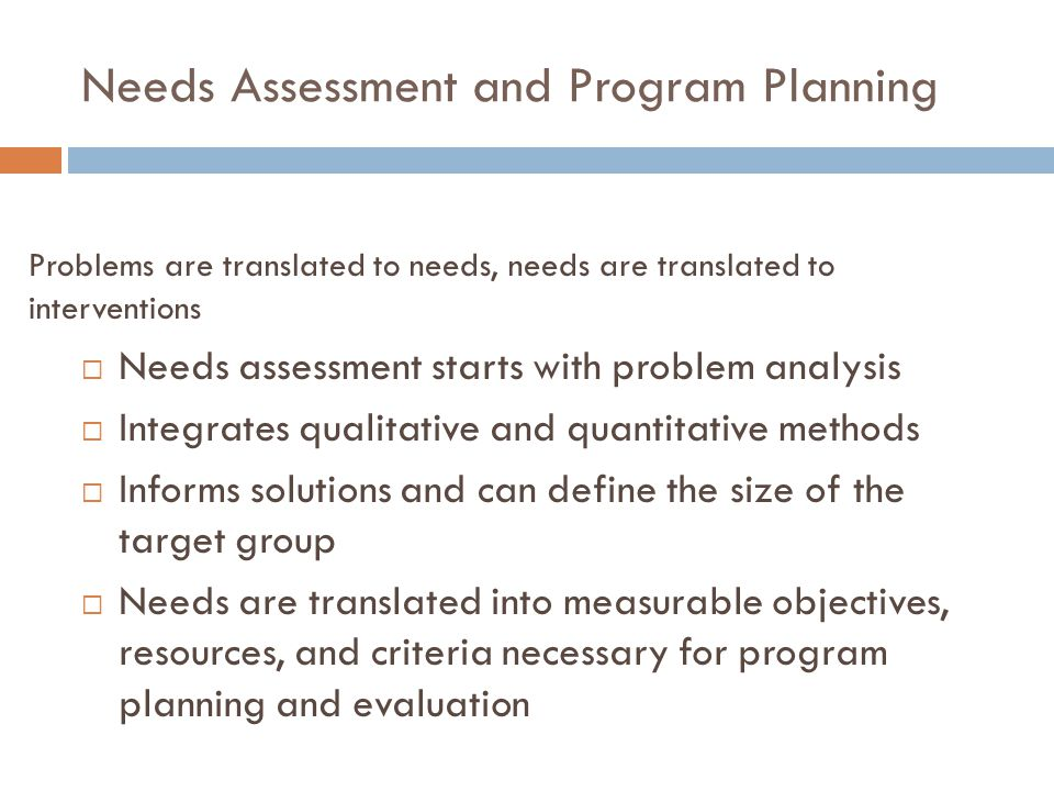 Needs Assessment and Program Planning