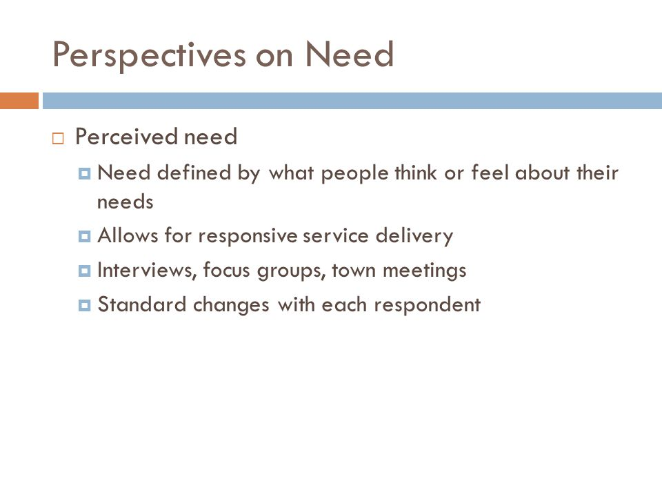 Perspectives on Need Perceived need