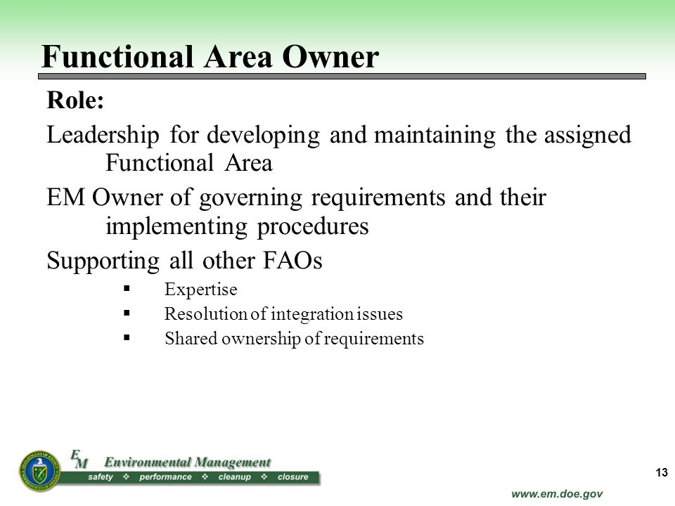 Functional Area Owner Role: