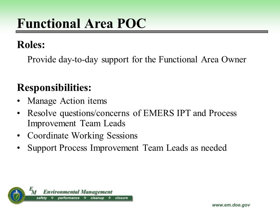 Functional Area POC Roles: