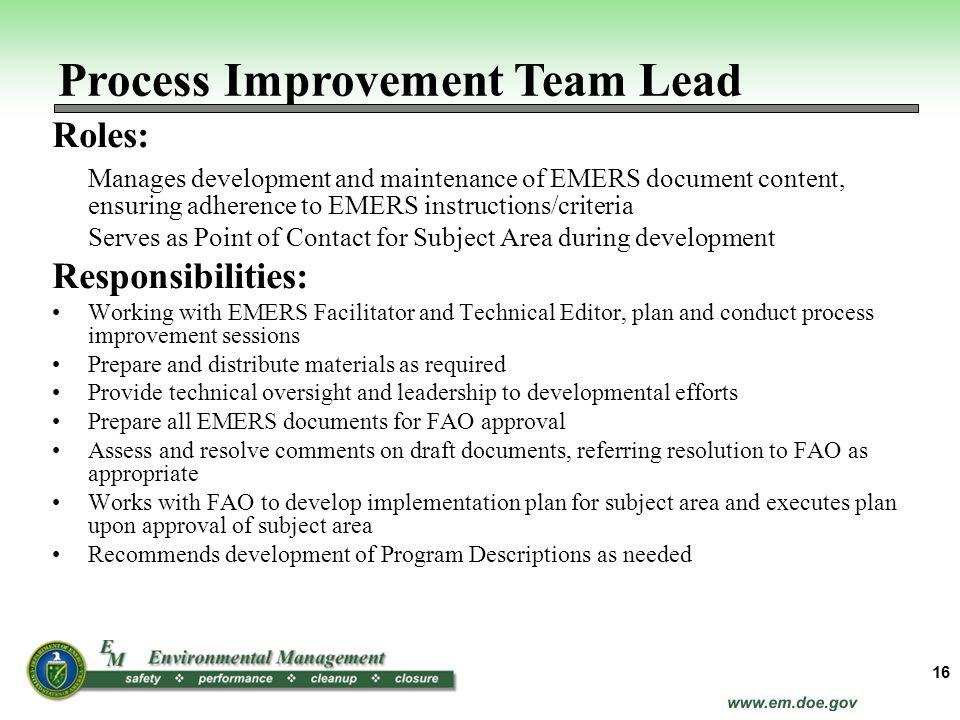 Process Improvement Team Lead