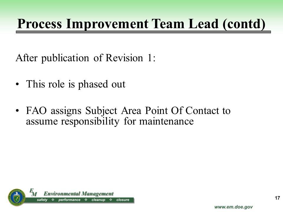 Process Improvement Team Lead (contd)
