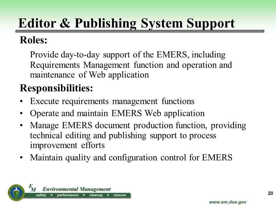 Editor & Publishing System Support