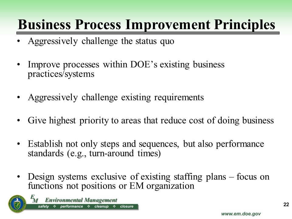 Business Process Improvement Principles