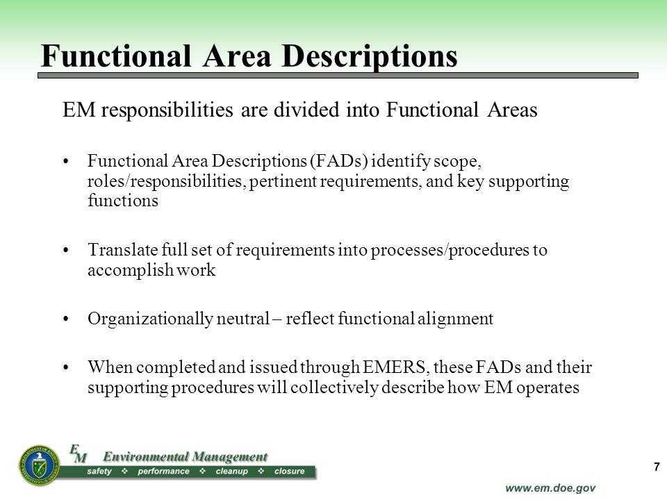 Functional Area Descriptions