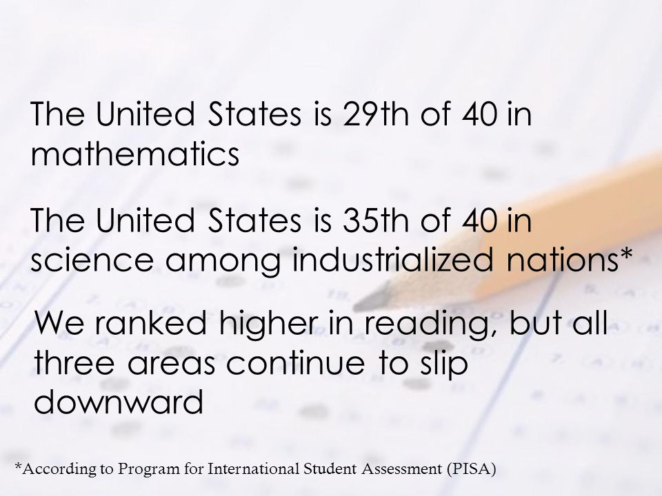 The United States is 29th of 40 in mathematics
