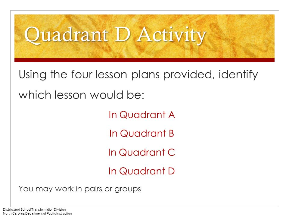 Quadrant D Activity Using the four lesson plans provided, identify