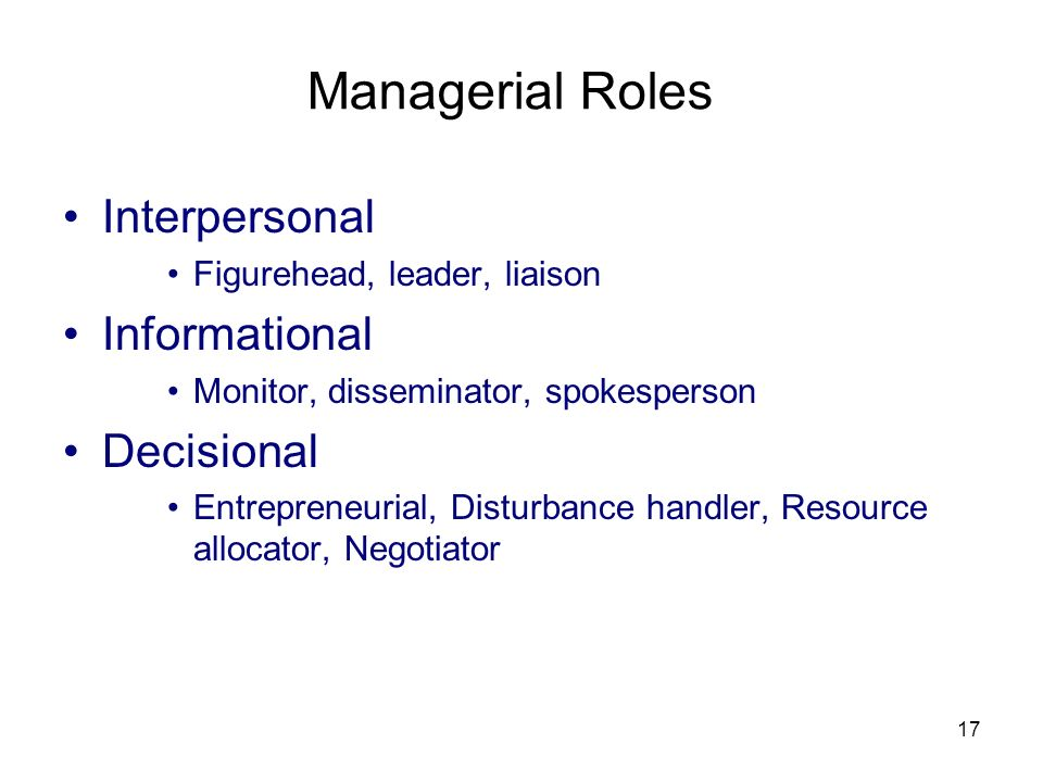 Managerial Roles Interpersonal Informational Decisional