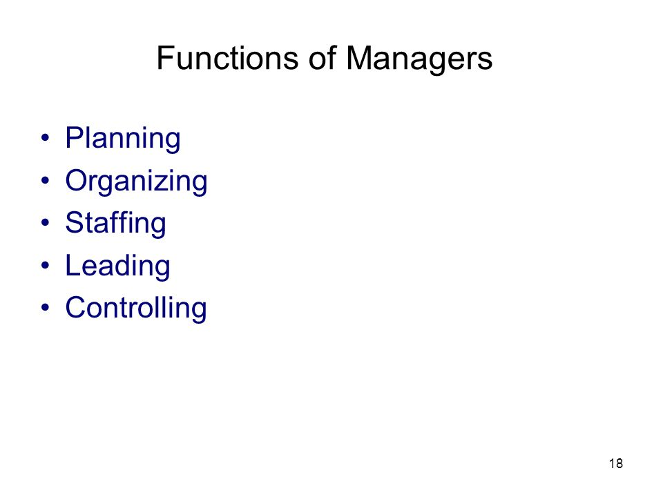 Functions of Managers Planning Organizing Staffing Leading Controlling