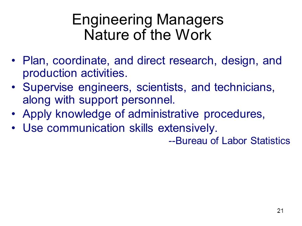Engineering Managers Nature of the Work