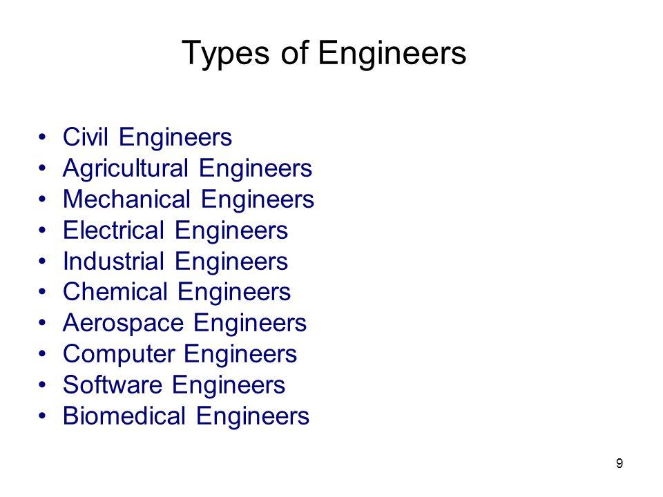 Types of Engineers Civil Engineers Agricultural Engineers