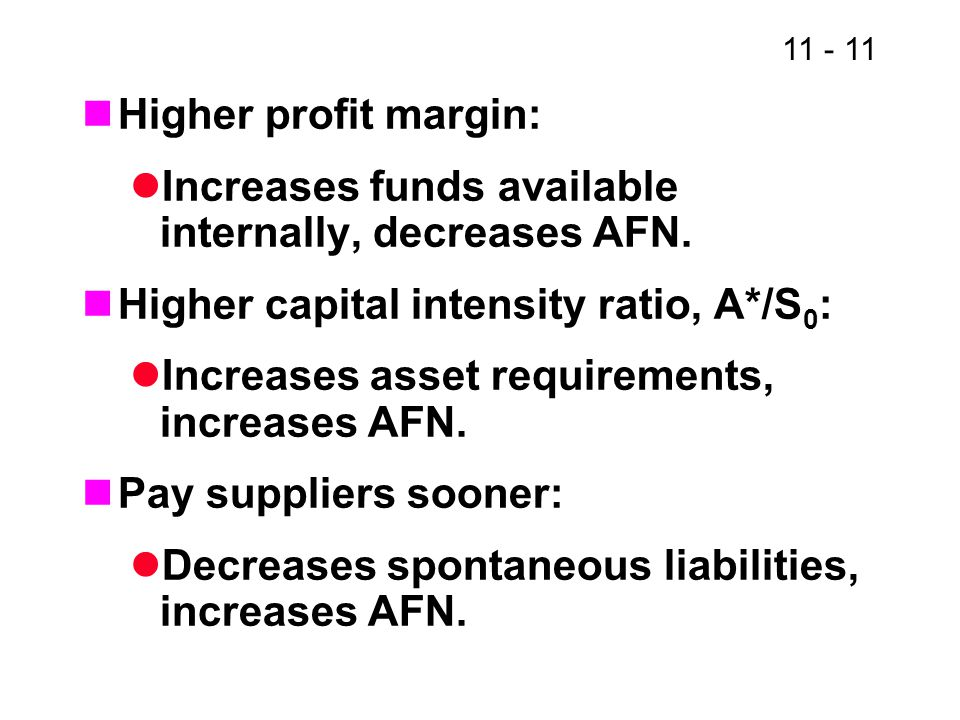 Higher profit margin: Increases funds available internally, decreases AFN. Higher capital intensity ratio, A*/S0: