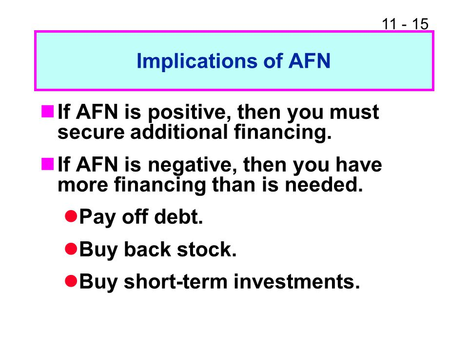 Implications of AFN If AFN is positive, then you must secure additional financing. If AFN is negative, then you have more financing than is needed.