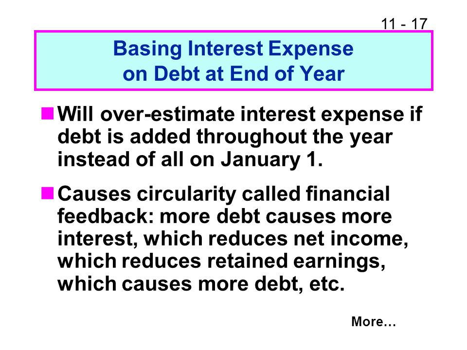 Basing Interest Expense on Debt at End of Year