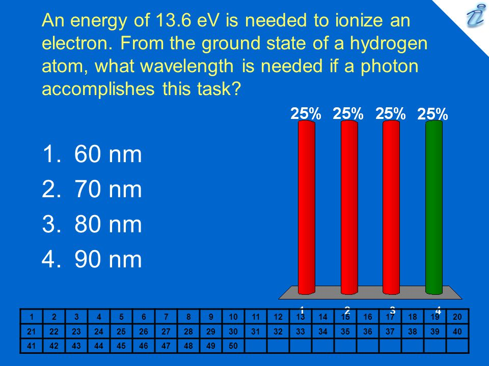 An energy of 13. 6 eV is needed to ionize an electron