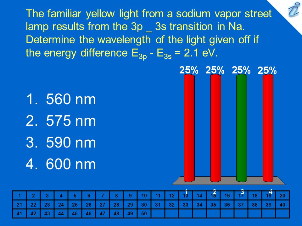 The familiar yellow light from a sodium vapor street lamp results from the 3p _ 3s transition in Na. Determine the wavelength of the light given off if the energy difference E3p - E3s = 2.1 eV.