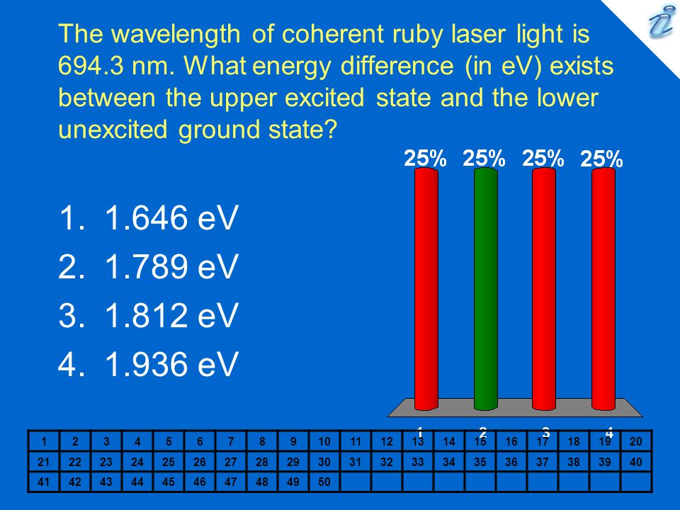 The wavelength of coherent ruby laser light is 694. 3 nm