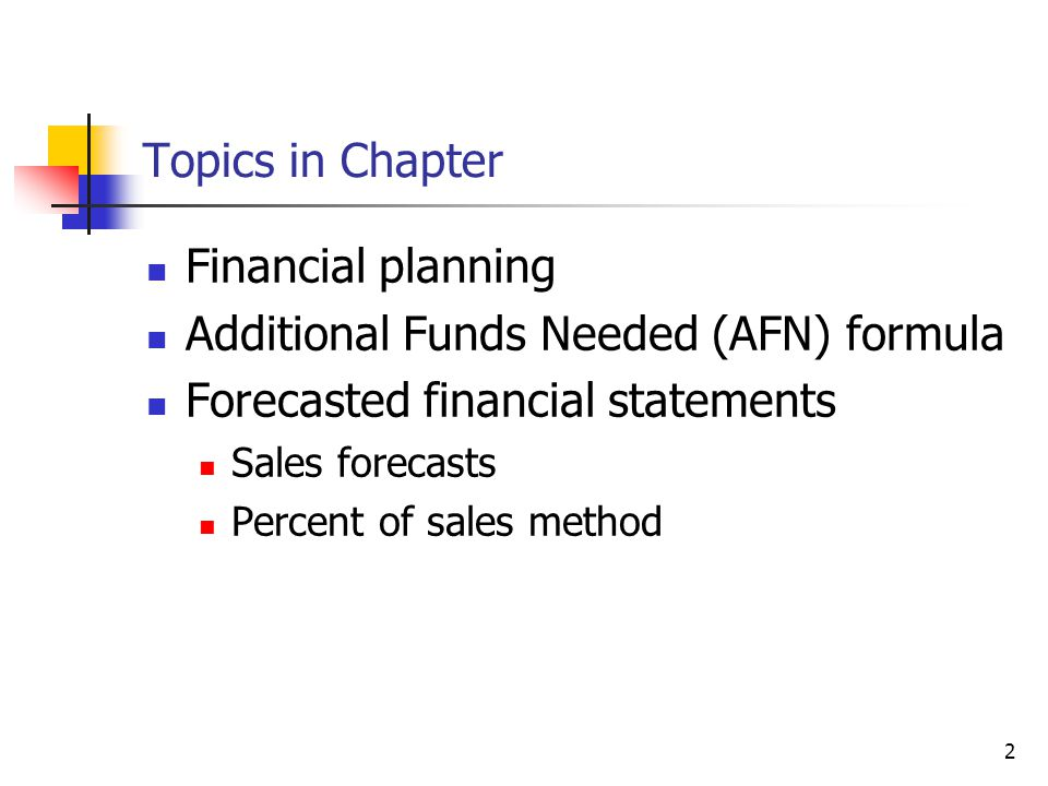 Additional Funds Needed (AFN) formula Forecasted financial statements