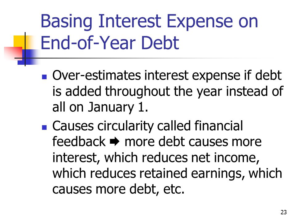 Basing Interest Expense on End-of-Year Debt