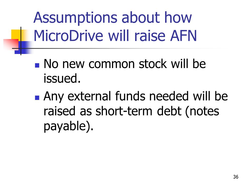 Assumptions about how MicroDrive will raise AFN
