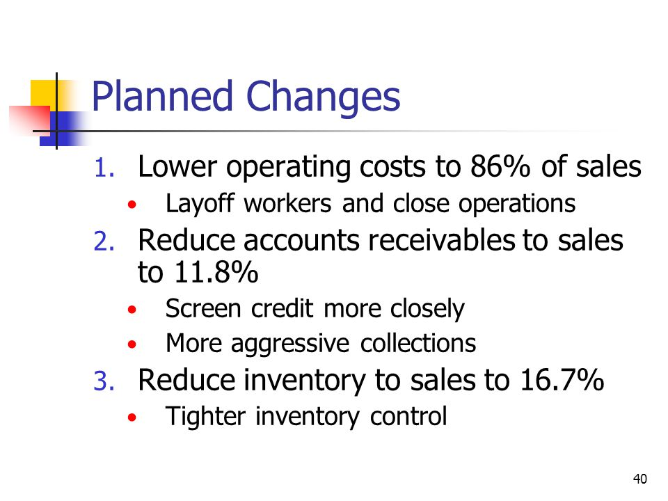 Planned Changes Lower operating costs to 86% of sales