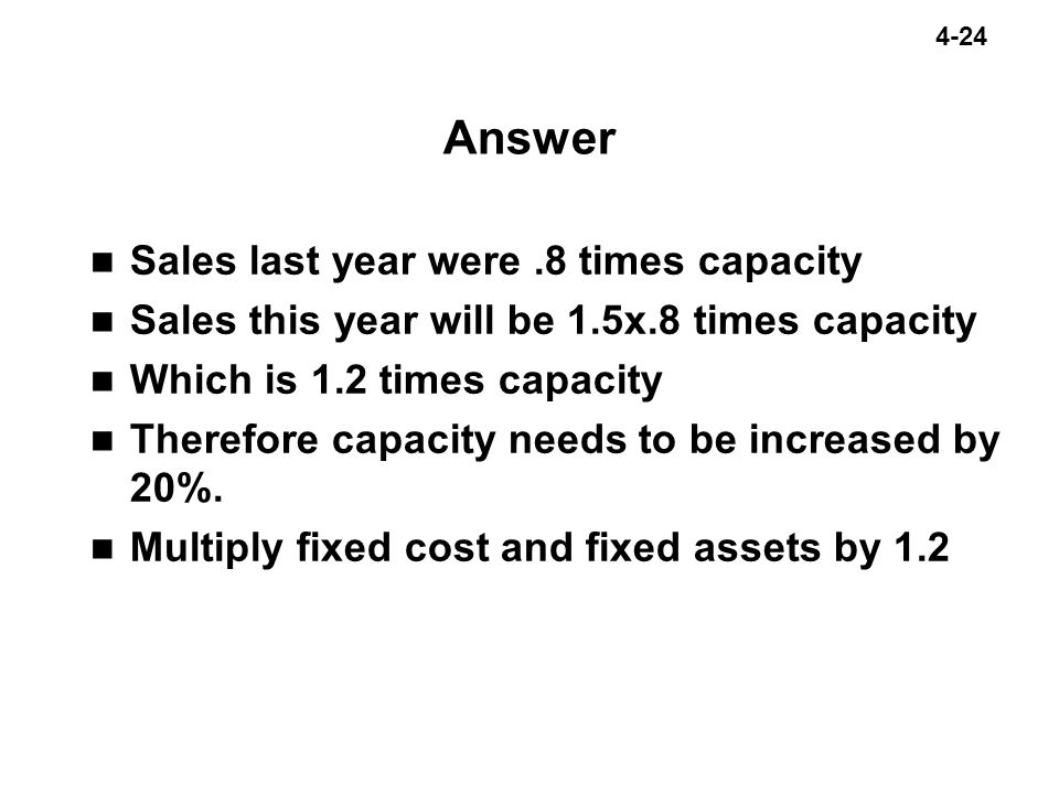 Answer Sales last year were .8 times capacity