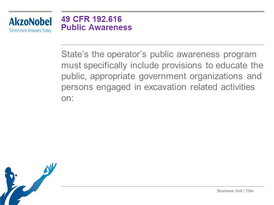 49 CFR 192.616 Public Awareness