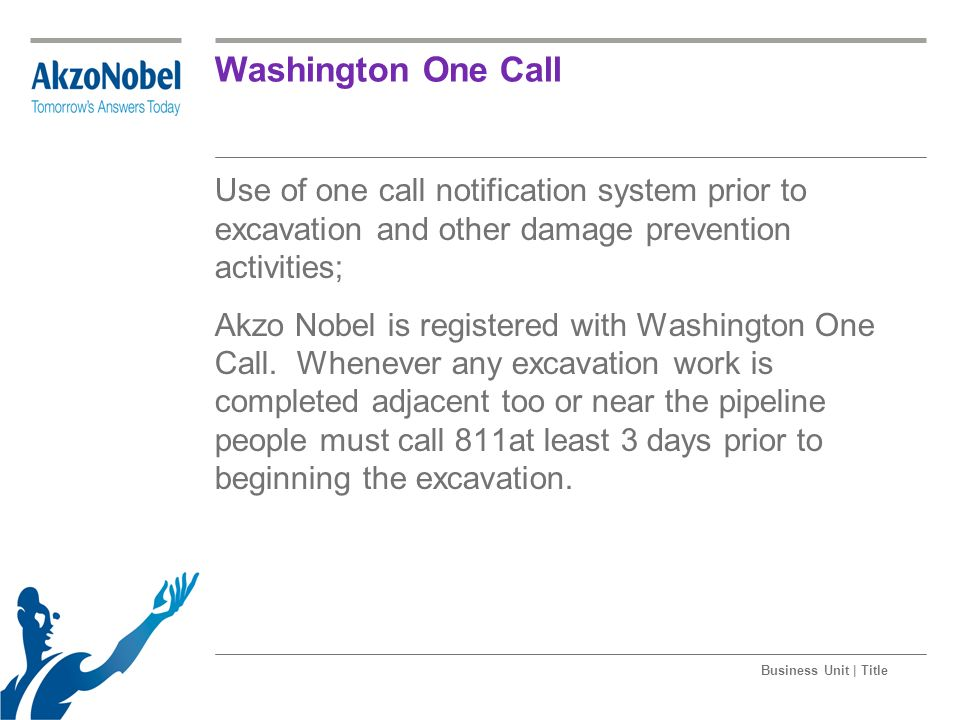 Washington One Call Use of one call notification system prior to excavation and other damage prevention activities;