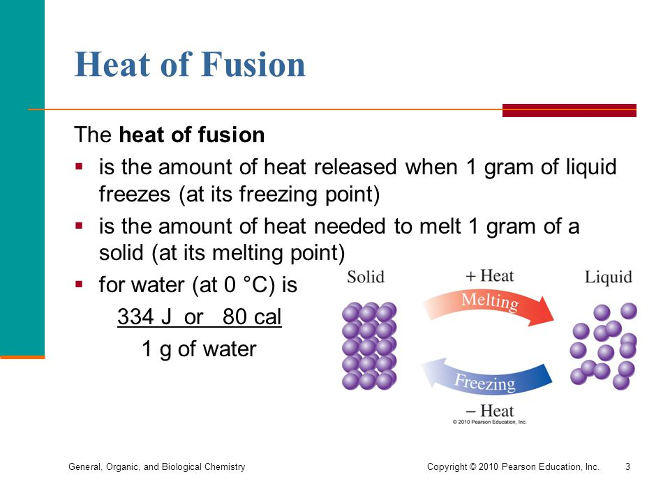 Heat of Fusion The heat of fusion