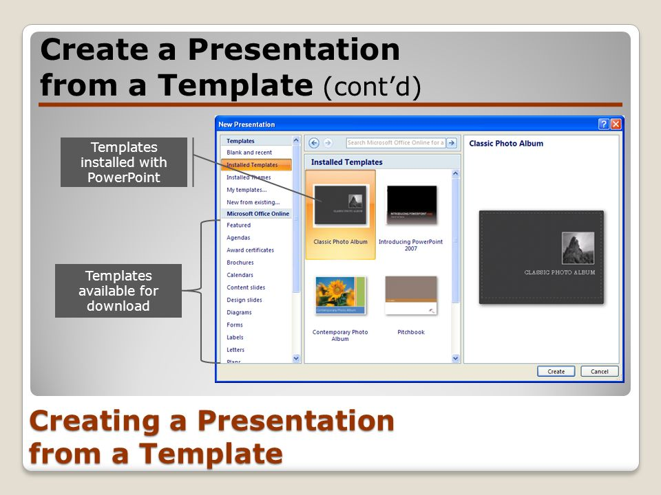 Creating a Presentation from a Template