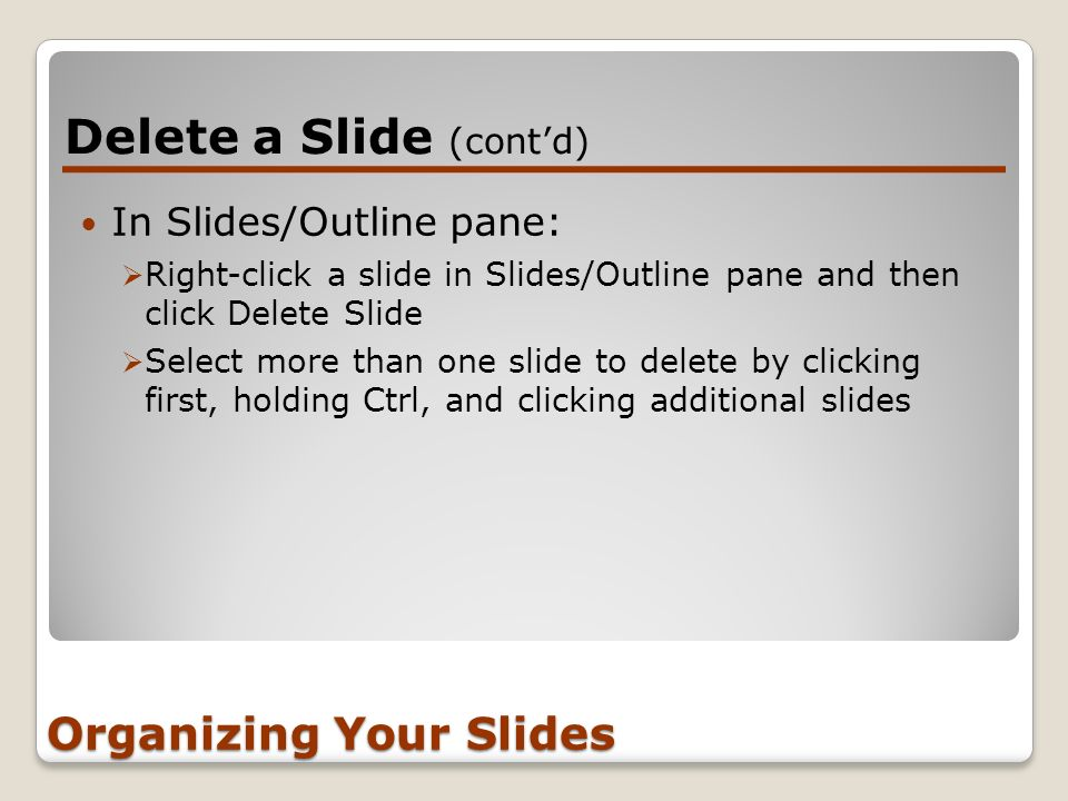 Organizing Your Slides