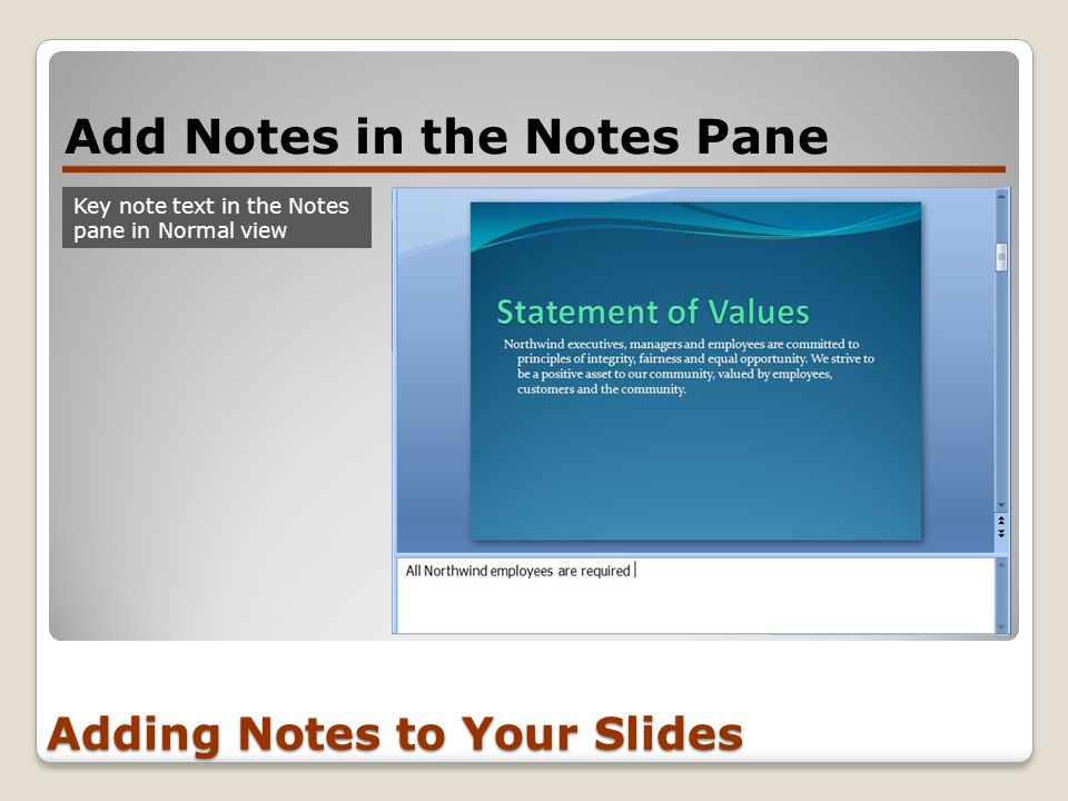 Adding Notes to Your Slides