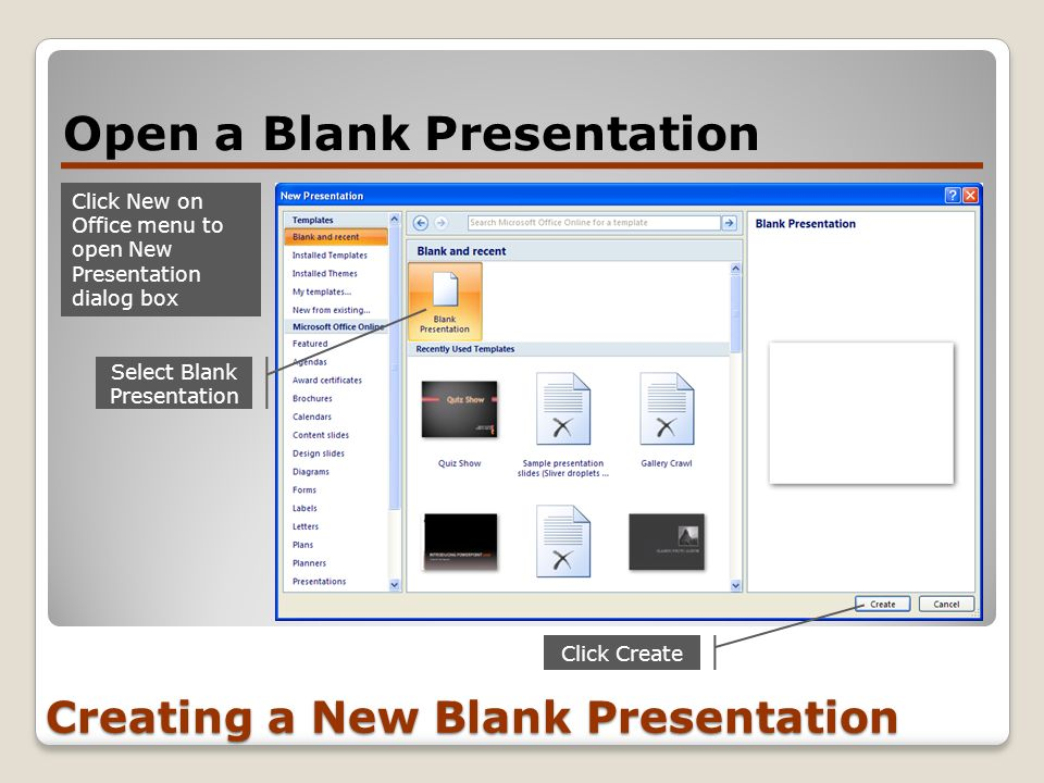 Creating a New Blank Presentation