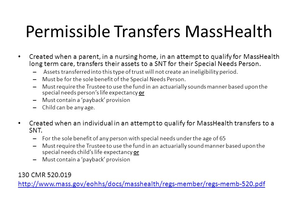 Permissible Transfers MassHealth