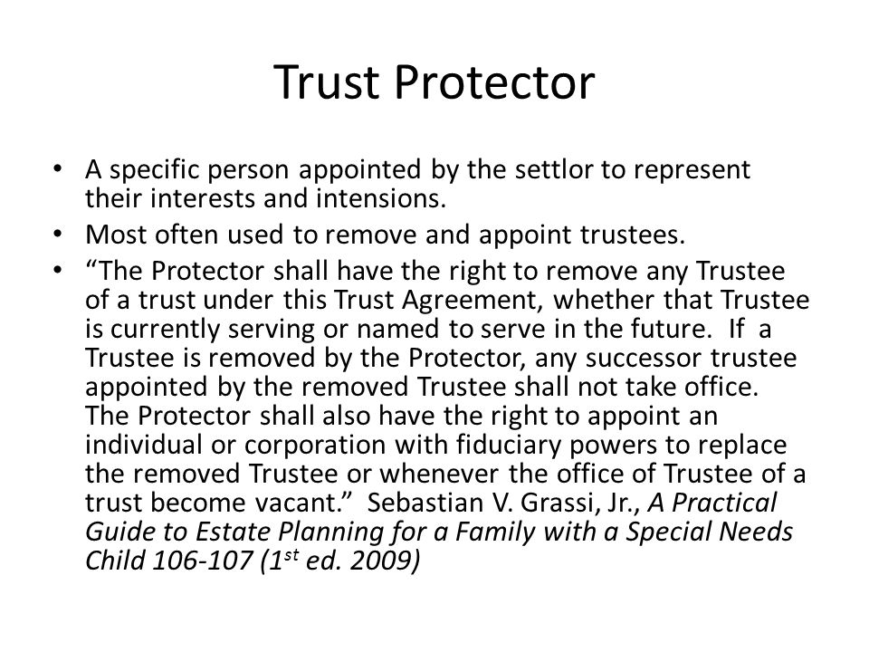Trust Protector A specific person appointed by the settlor to represent their interests and intensions.