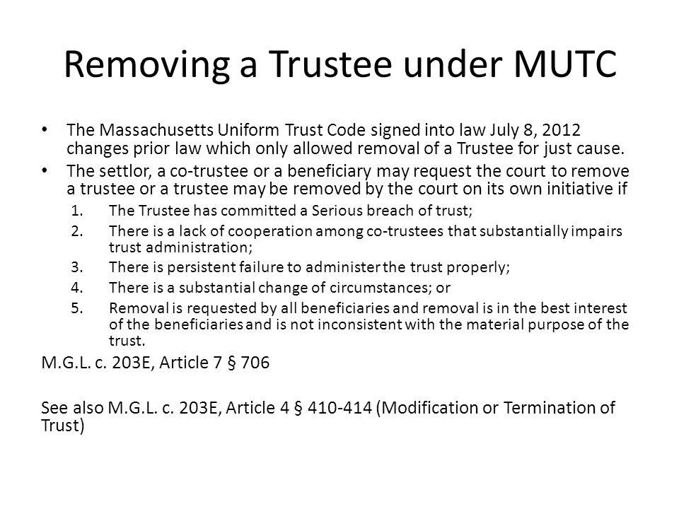 Removing a Trustee under MUTC