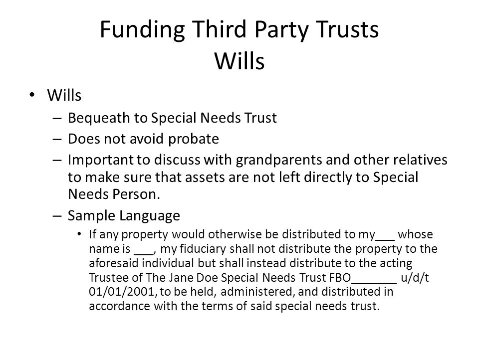 Funding Third Party Trusts Wills