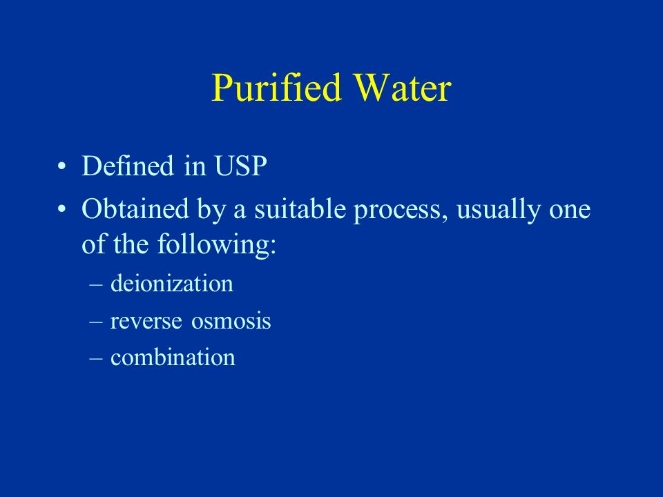 Purified Water Defined in USP