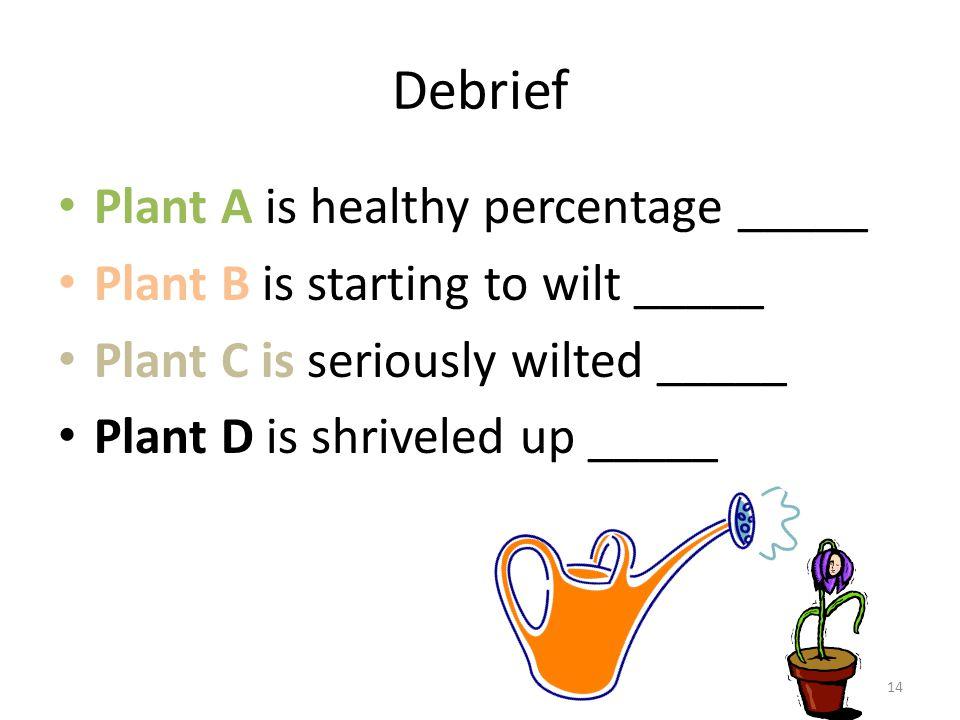 Debrief Plant A is healthy percentage _____