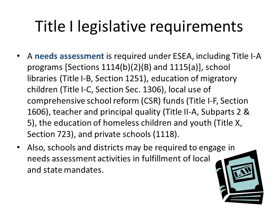 Title I legislative requirements