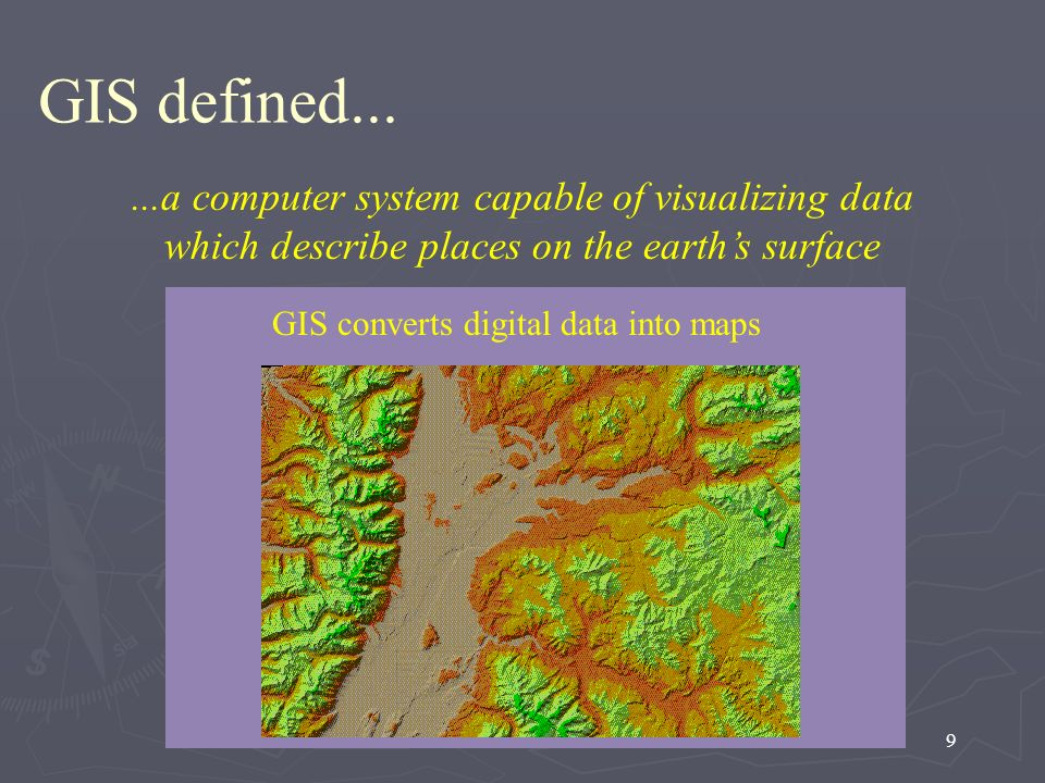 GIS defined......a computer system capable of visualizing data which describe places on the earth's surface.