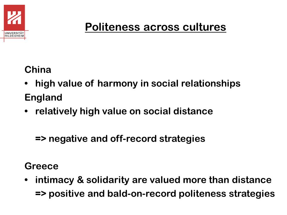 Politeness across cultures