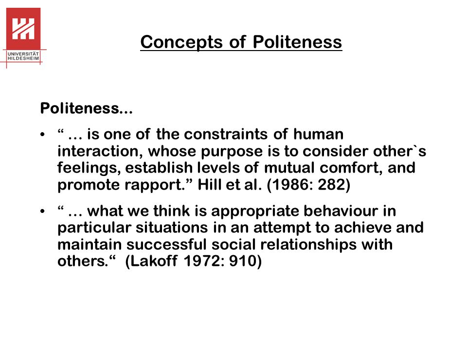 Concepts of Politeness