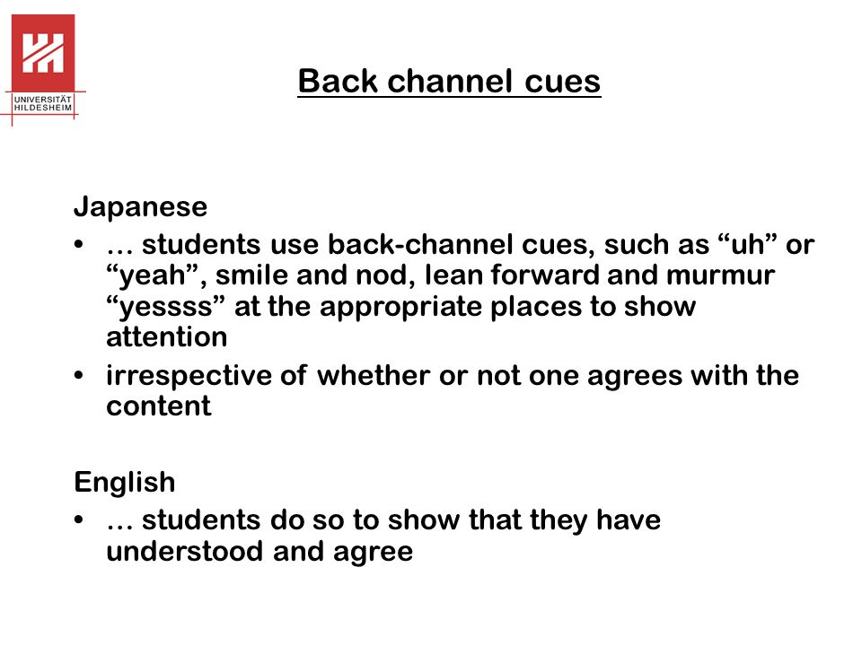 Back channel cues Japanese