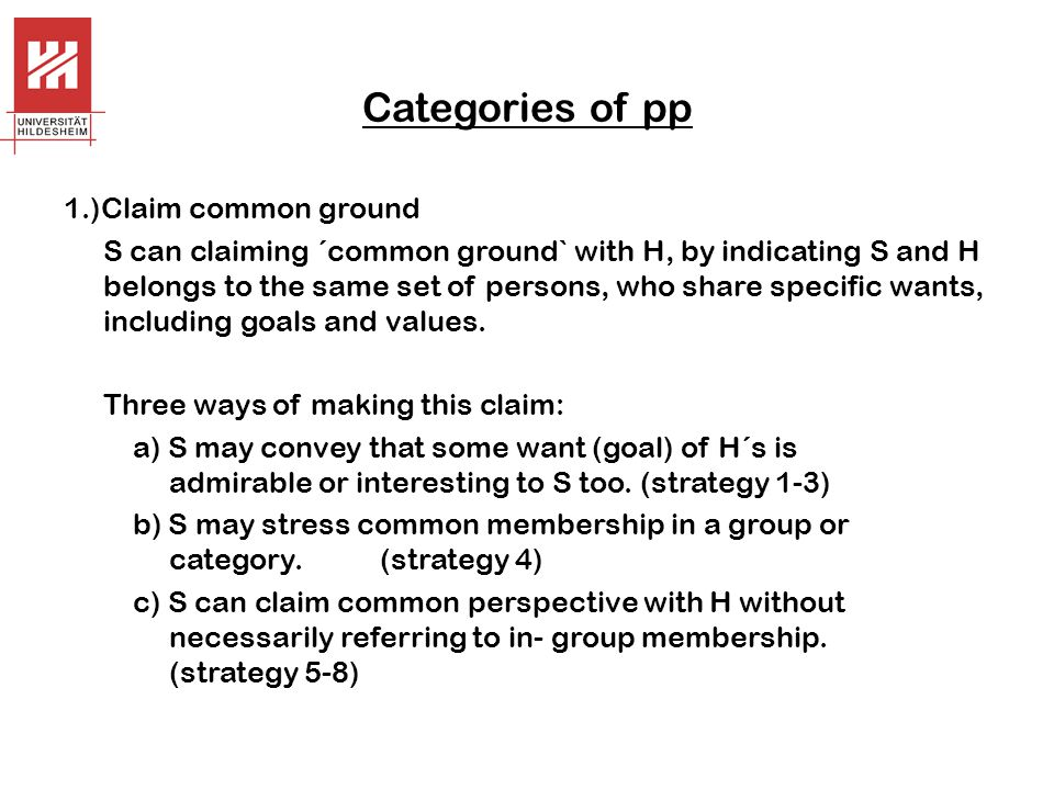 Categories of pp 1.)Claim common ground