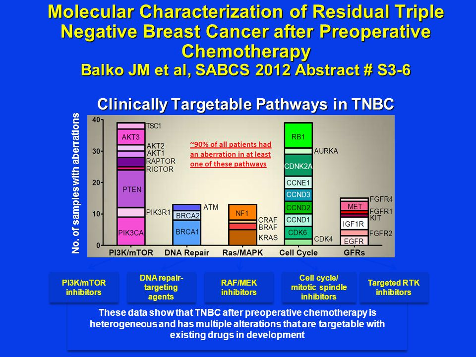 Molecular Characterization of Residual Triple Negative Breast Cancer after Preoperative Chemotherapy Balko JM et al, SABCS 2012 Abstract # S3-6 Clinically Targetable Pathways in TNBC